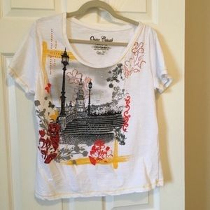 Embellished Old Town European City Scape Tee